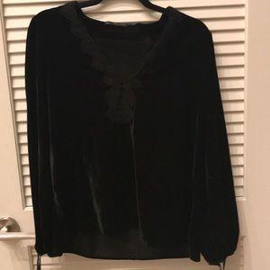 Zara Black soft long sleeve shirt velour feel
